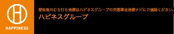 愛知県のむち打ち治療はハピネスグループの交通事故治療ナビにご連絡ください。ハピネスグループ 愛知 交通事故施術ナビ